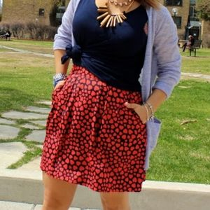 🛑3/$30 J crew hearts skirt red blue size 0